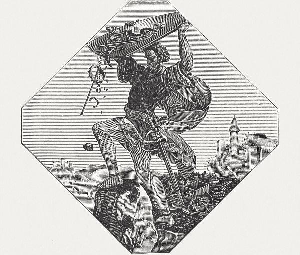 Hagan Throwing Nibelung Treasure Into The River