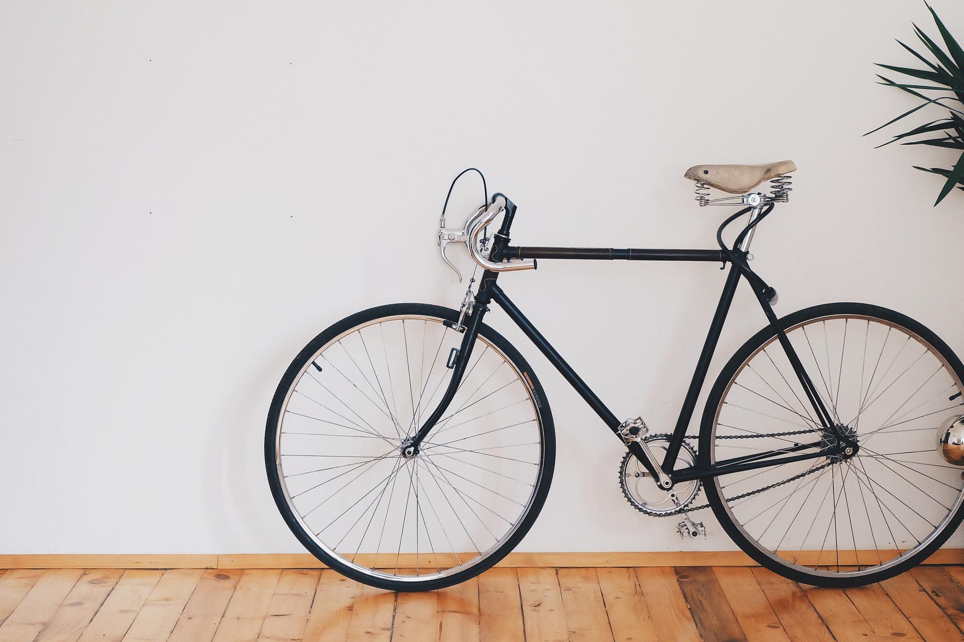 A bike parked inside