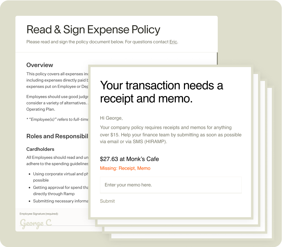 Ramp expense policy sign