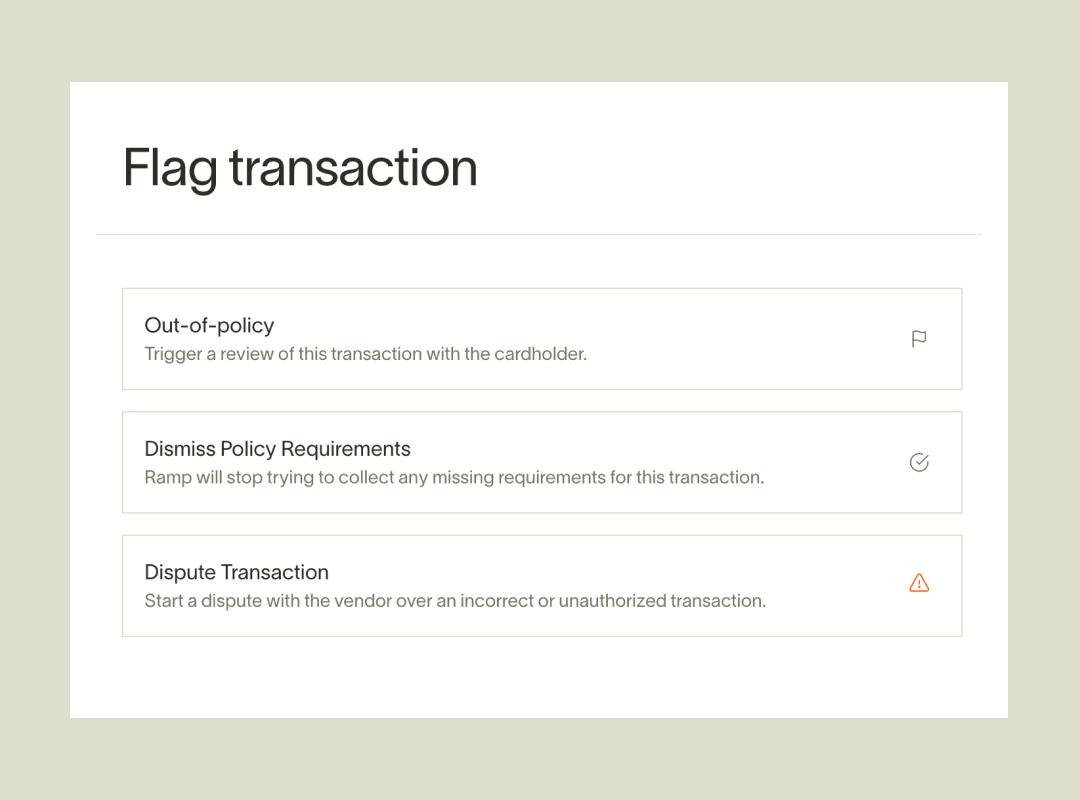 Ramp transaction flags