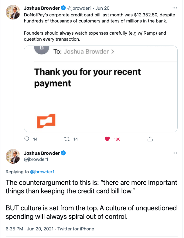 Tweet about the importance of spend culture