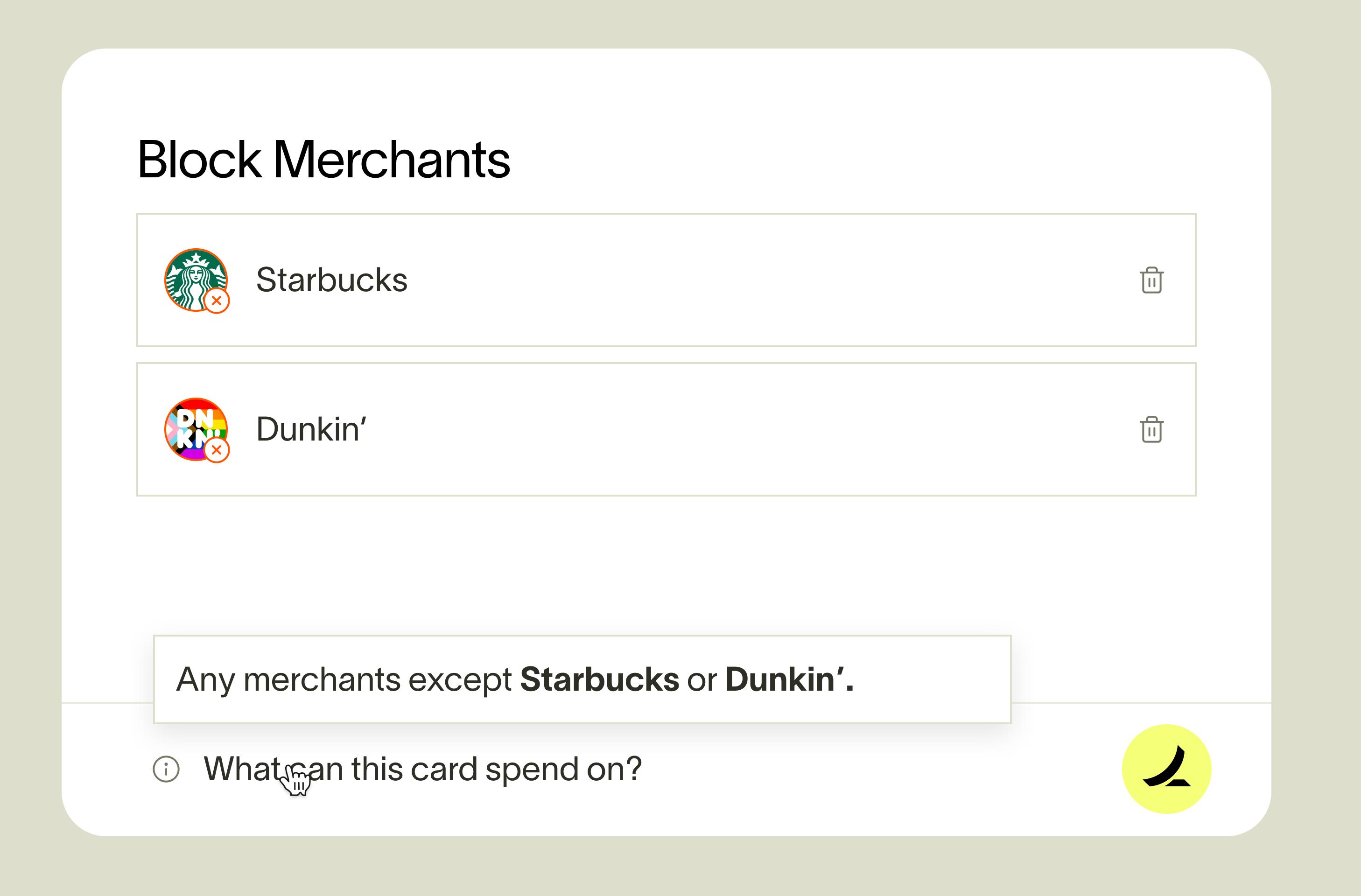 Ramp merchant restrictions