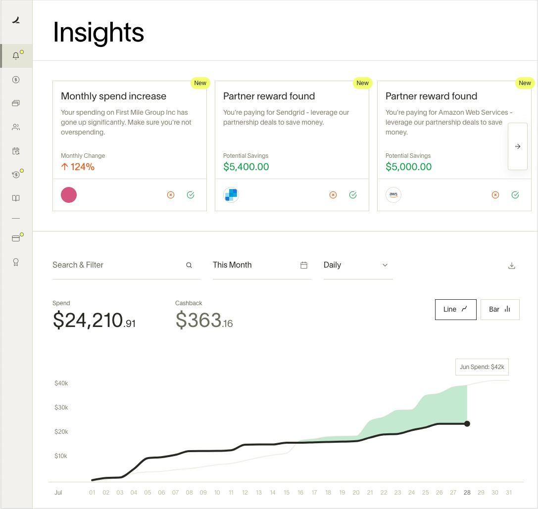 Automated savings insights surfaced on Ramp's dashboard