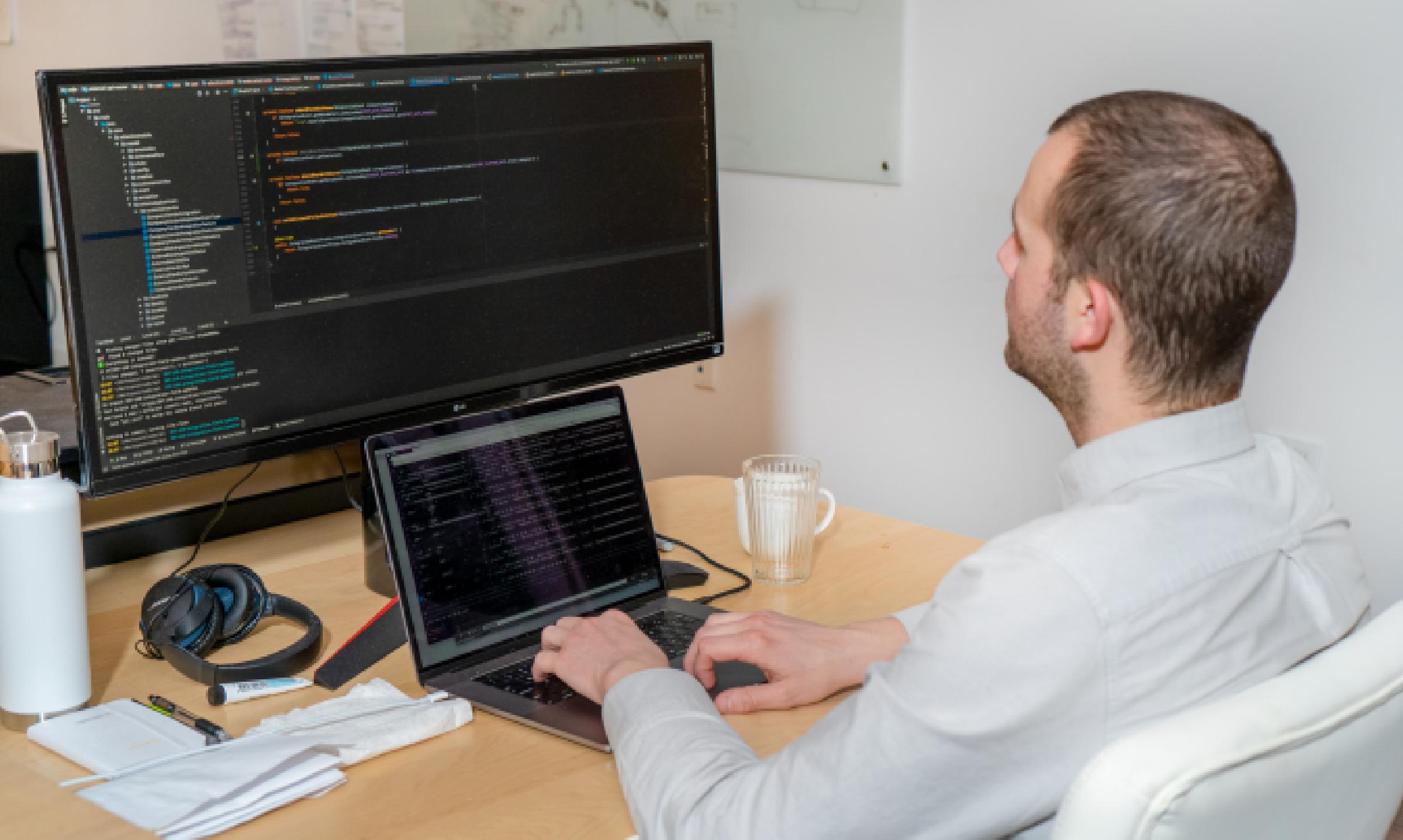 Person looking at desktop screen