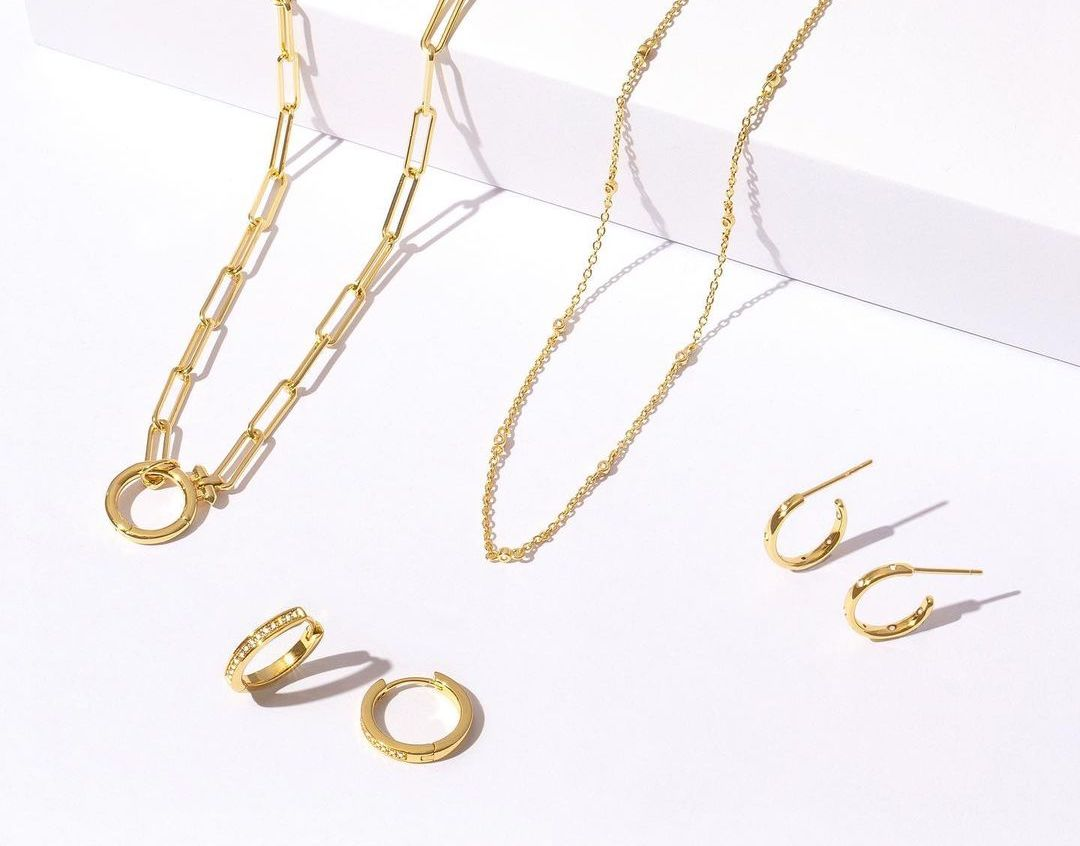 Gold necklaces and earrings
