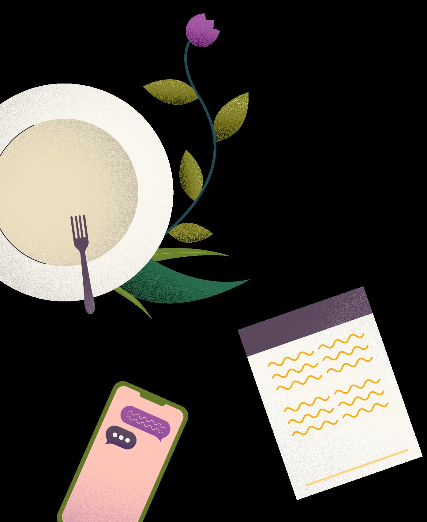 coffee leaf phone illustration