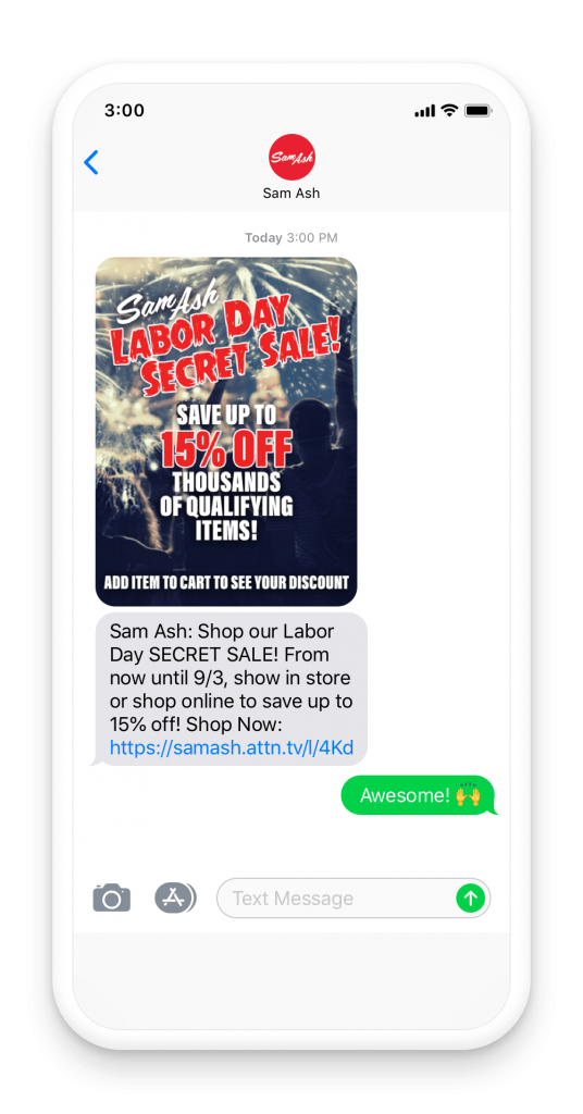 Sam Ash - secret sale exclusively for their text