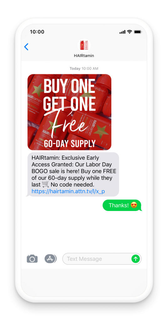 HairVitamins sends a text message to mobile subscribers