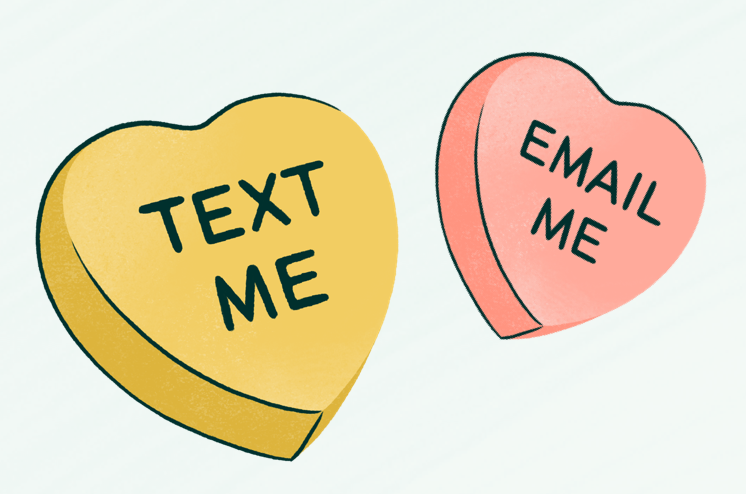 Valentines Day text email heart graphic