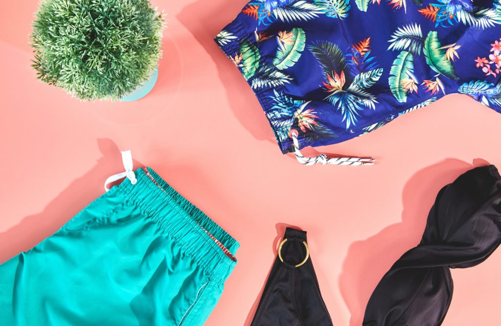 Summer swimsuits and sunglasses
