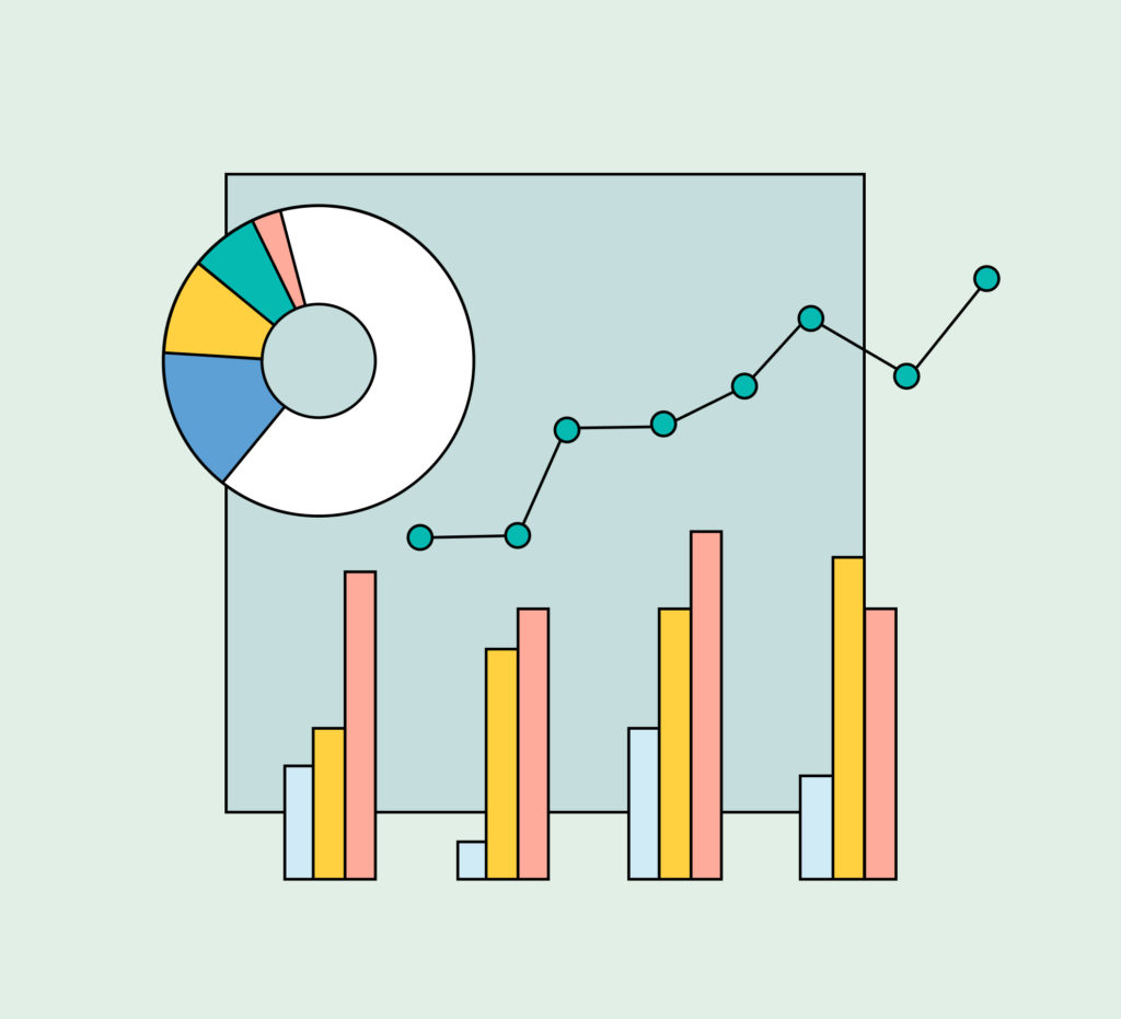 Line graph and pie chart graphic