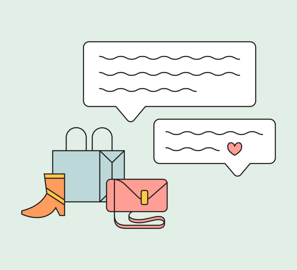 Shopping bags with speech bubbles