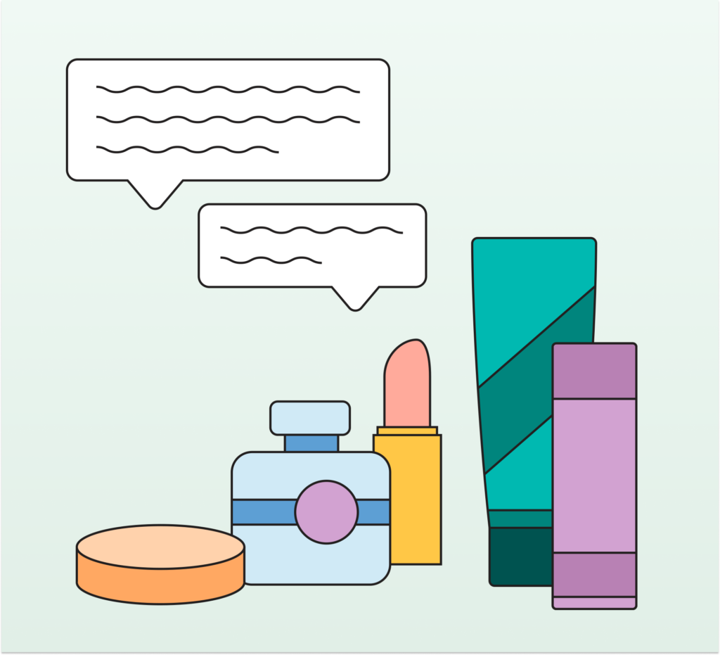 Beauty and wellness products illustration