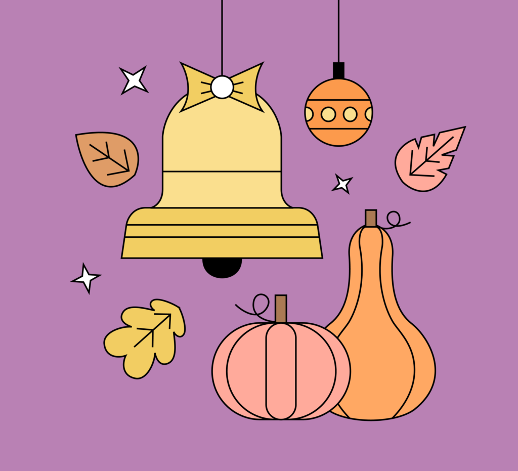 Fall holidays leaves graphic