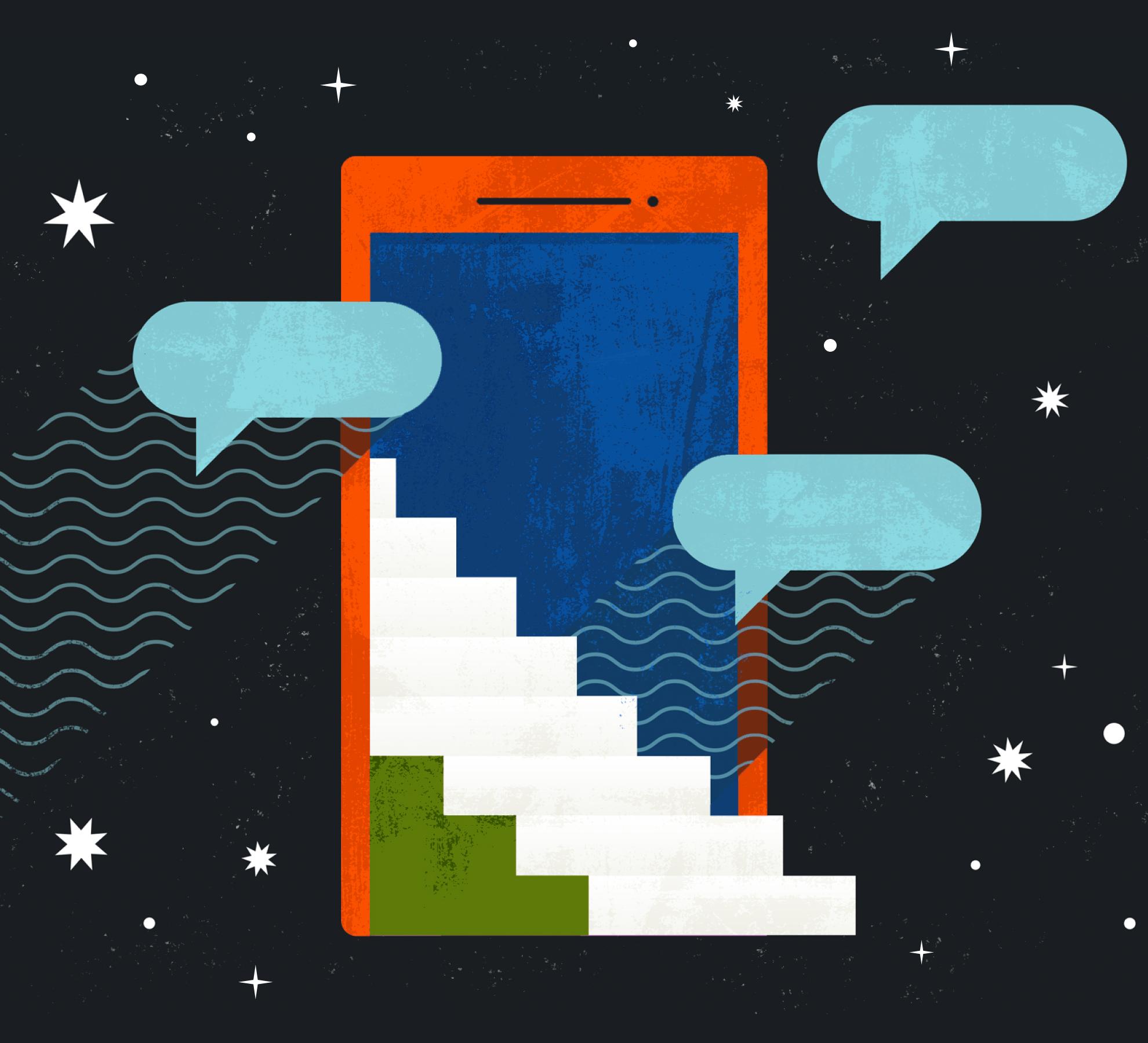 Outlook futuristic phone illustration