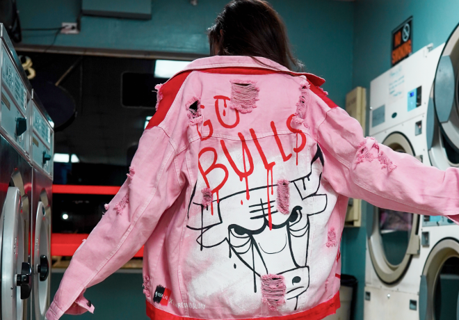 Girl in pink jean jacket