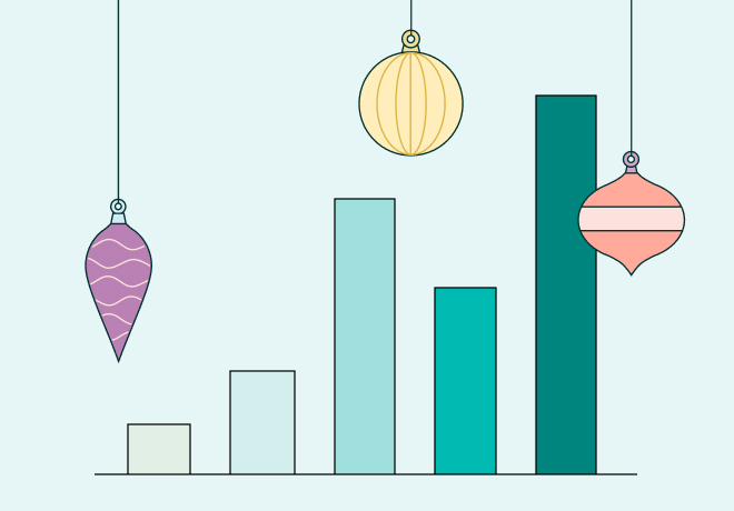 Bar graph with ornaments illustration