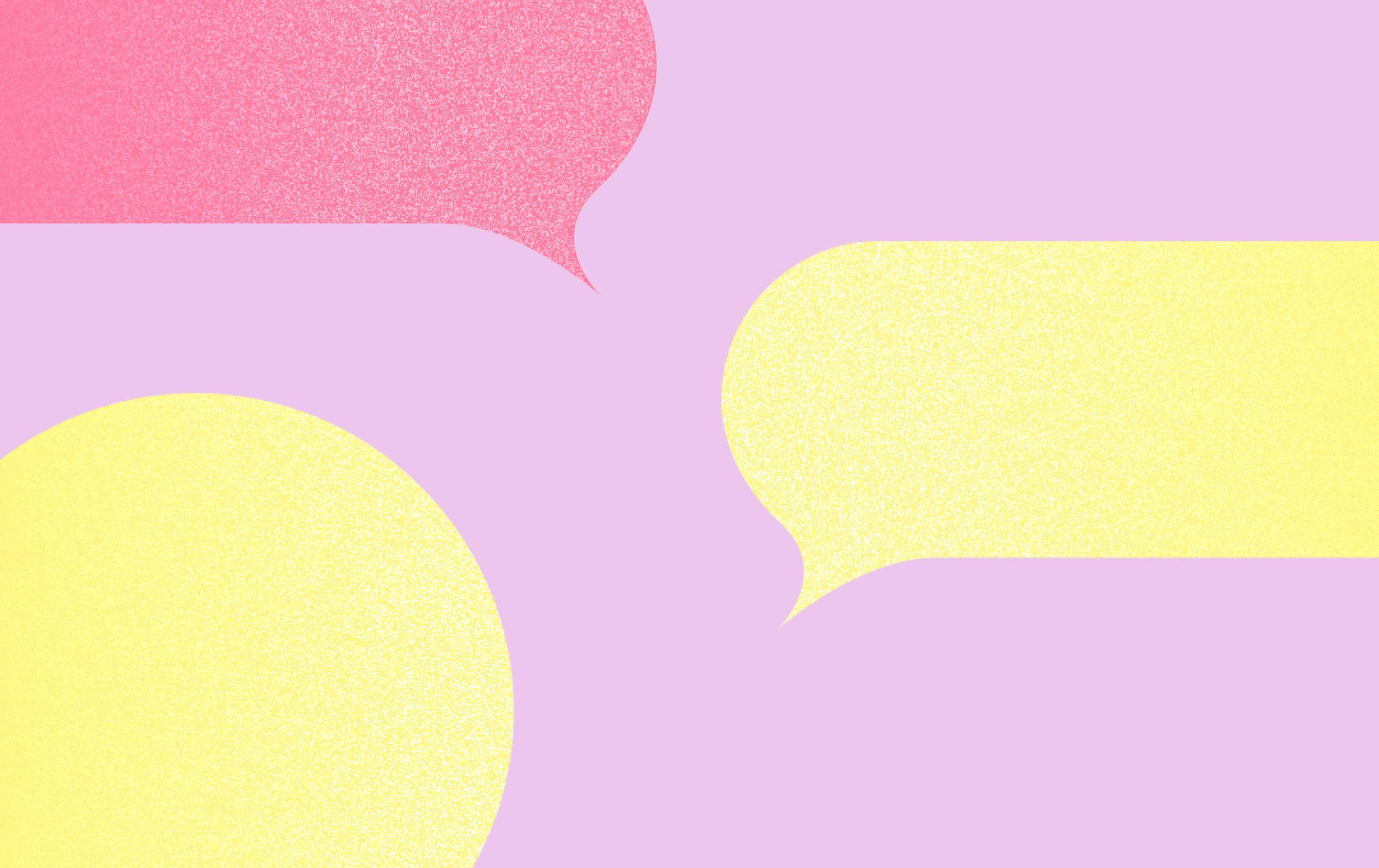 Colorful text message bubbles