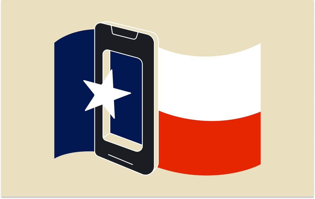 Texas flag phone graphic