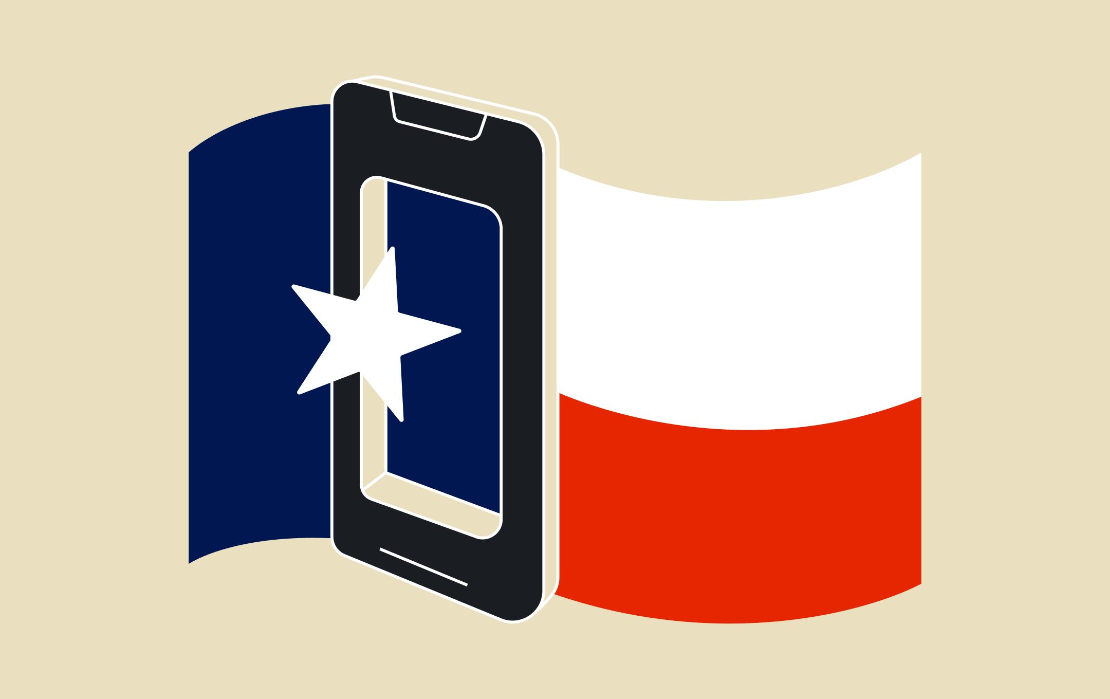 Texas flag phone graphic