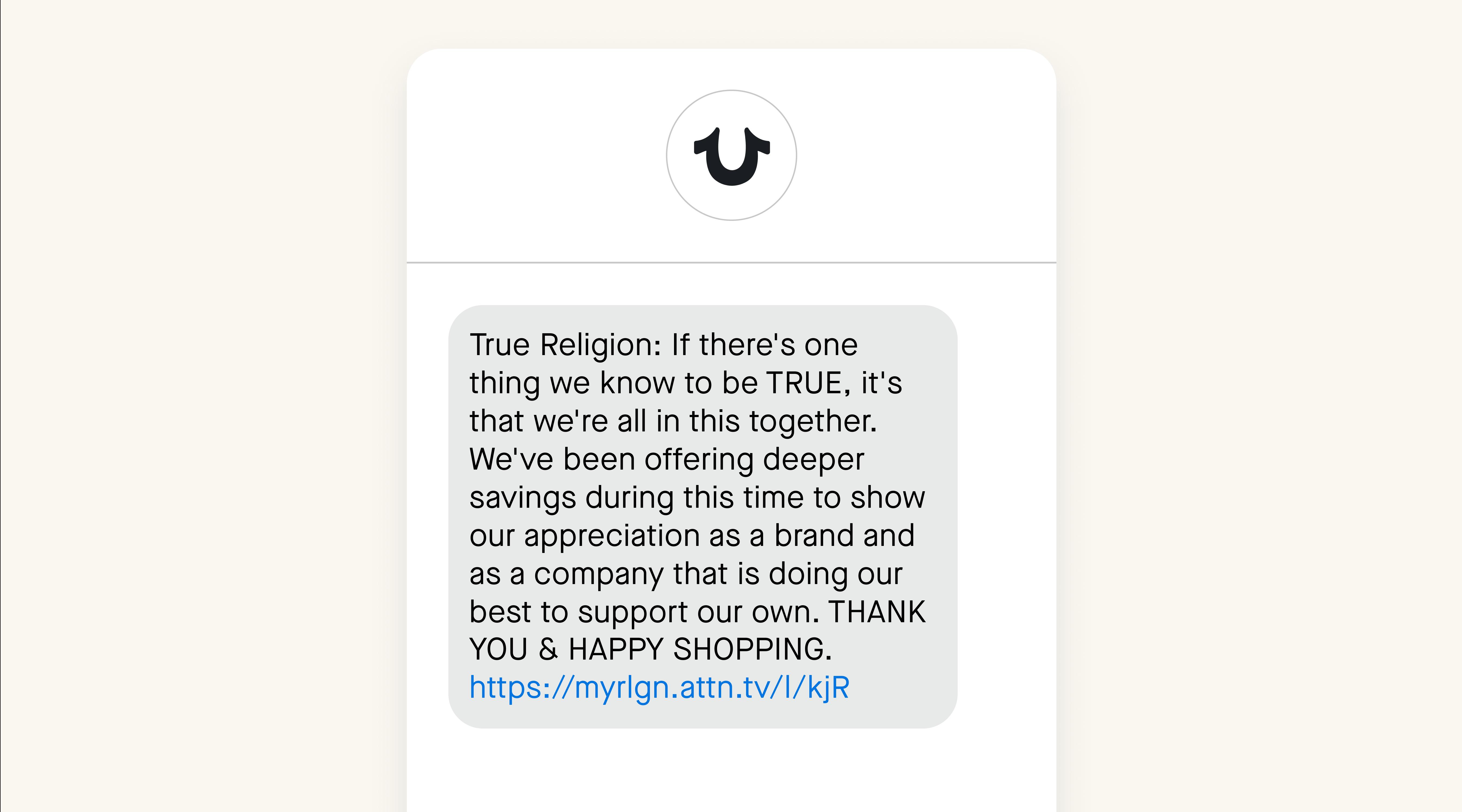 True Religion SMS example