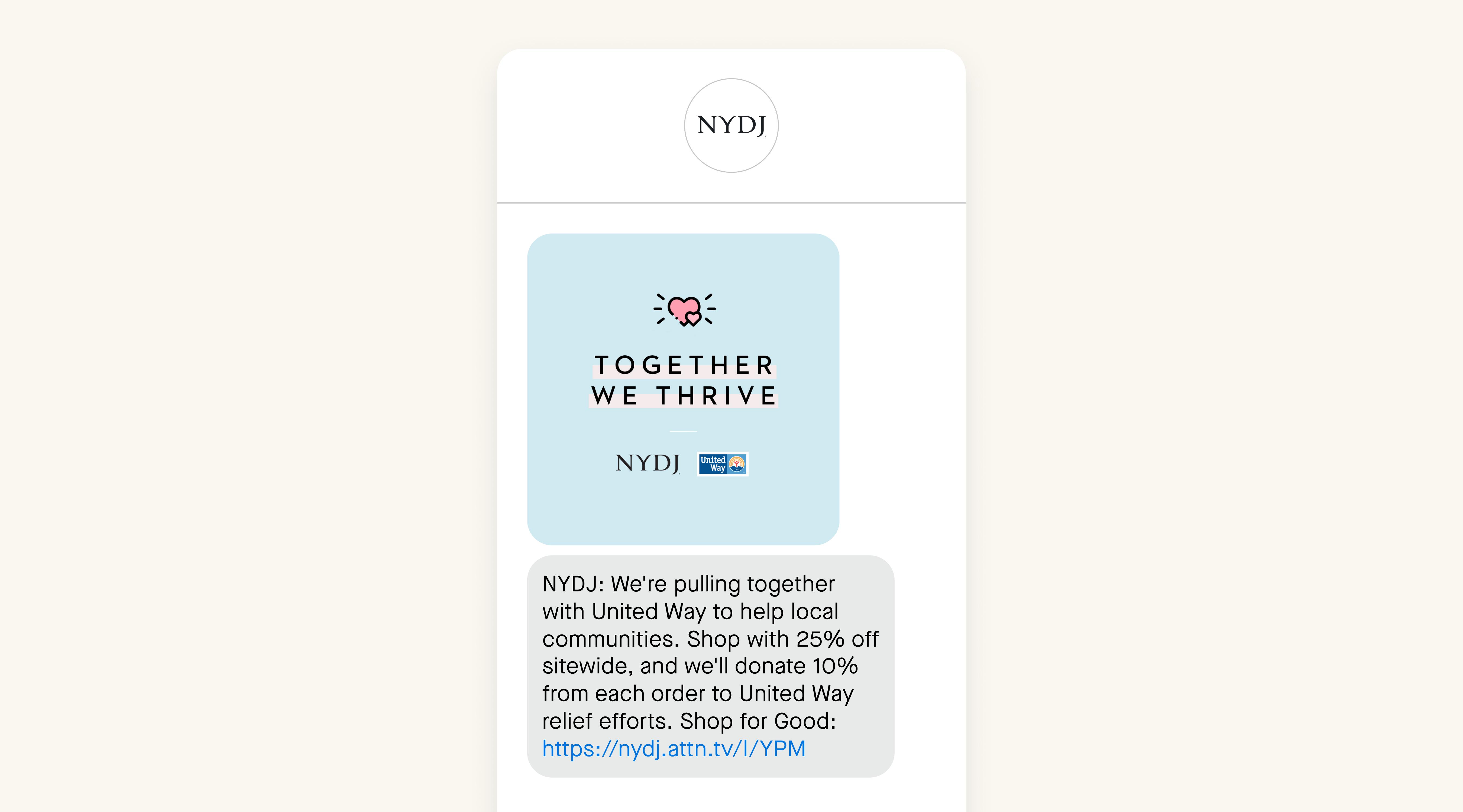 NYDJ SMS exmaple