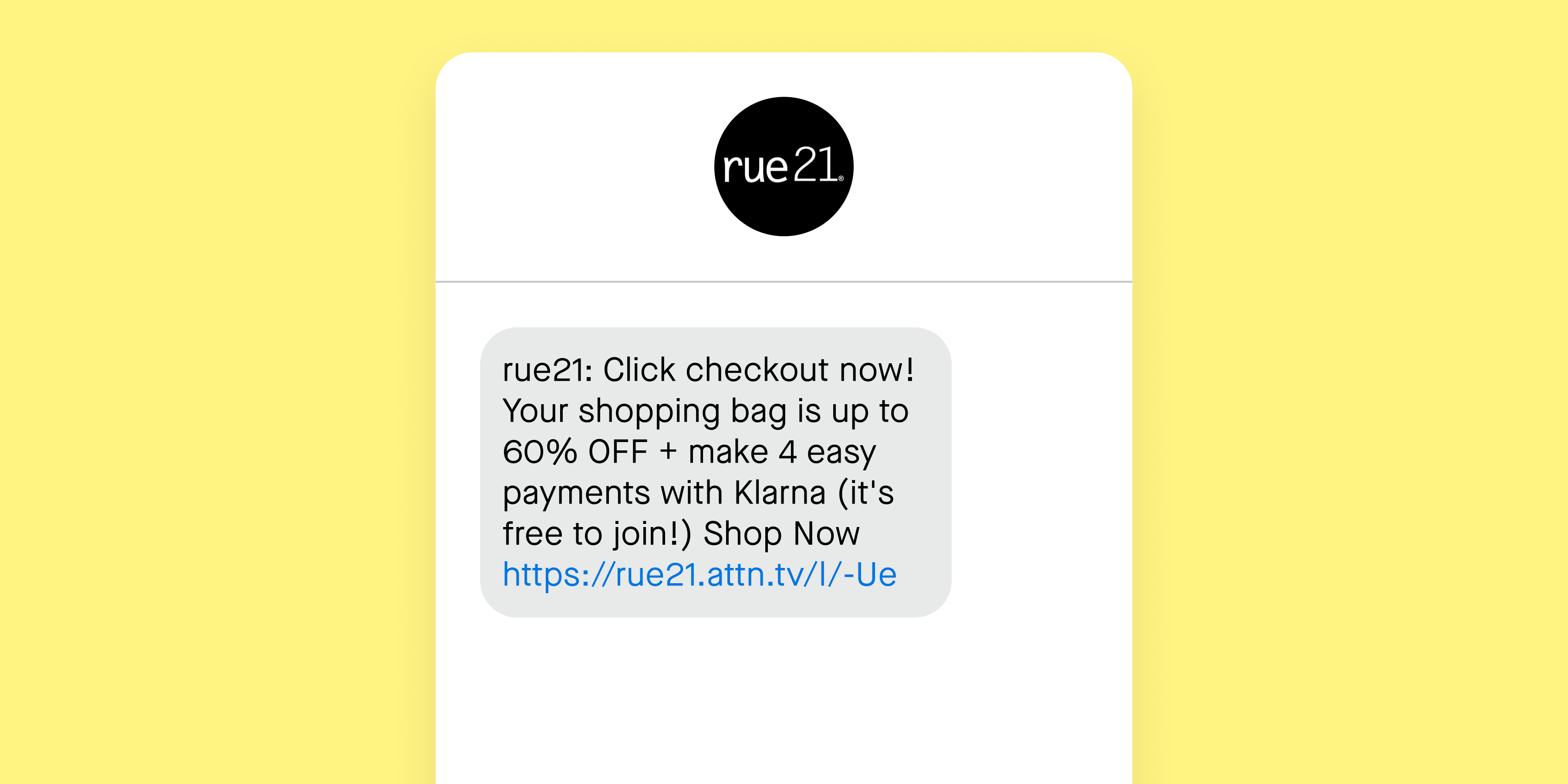 Rue21 text examples 60% off
