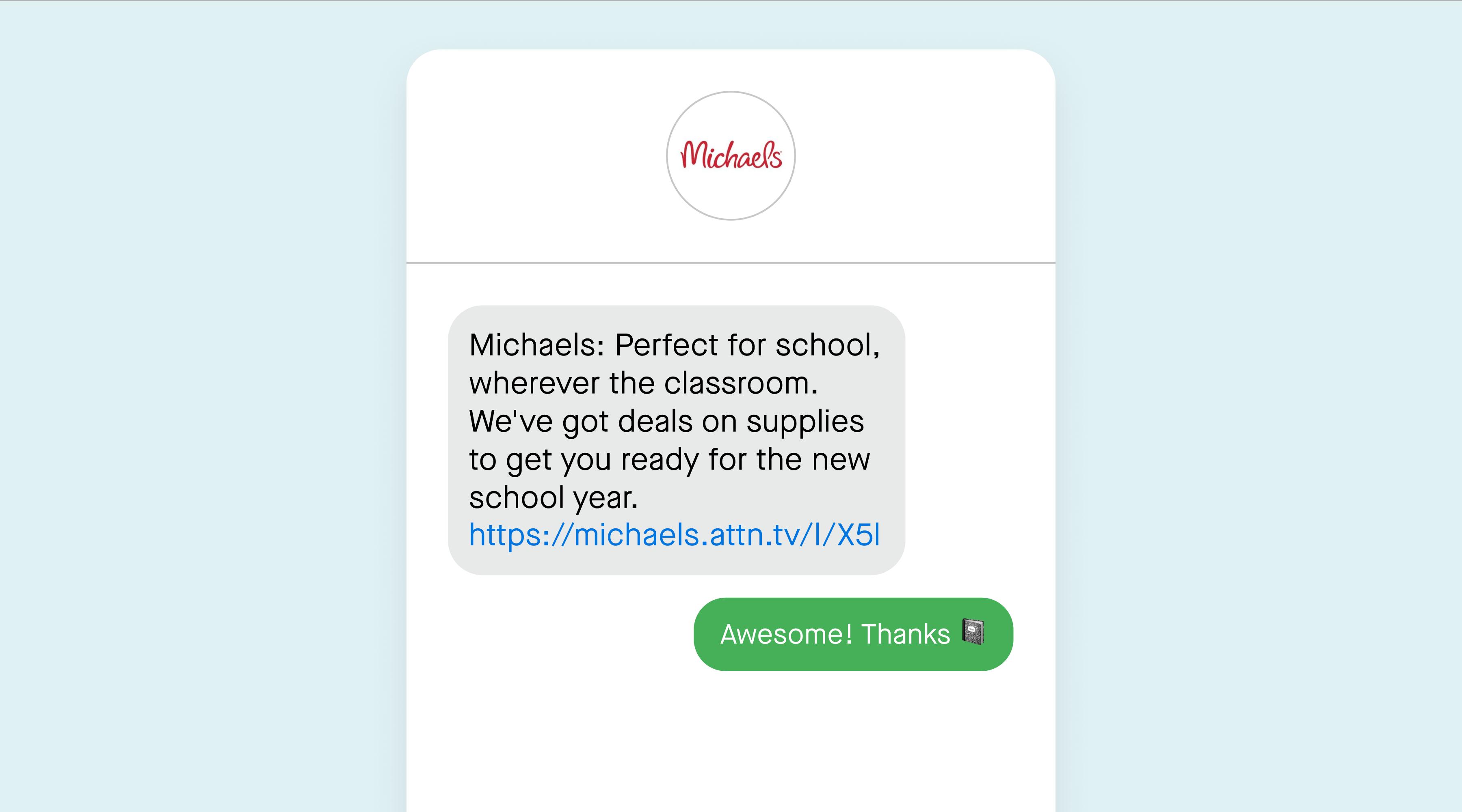 Michaels back-to-school sale