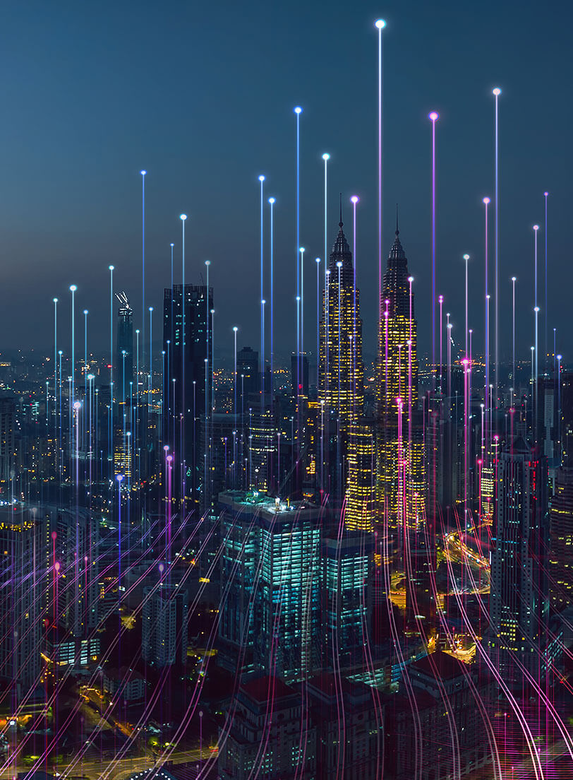 Illustration of city with digital lines coming out and going into the sky