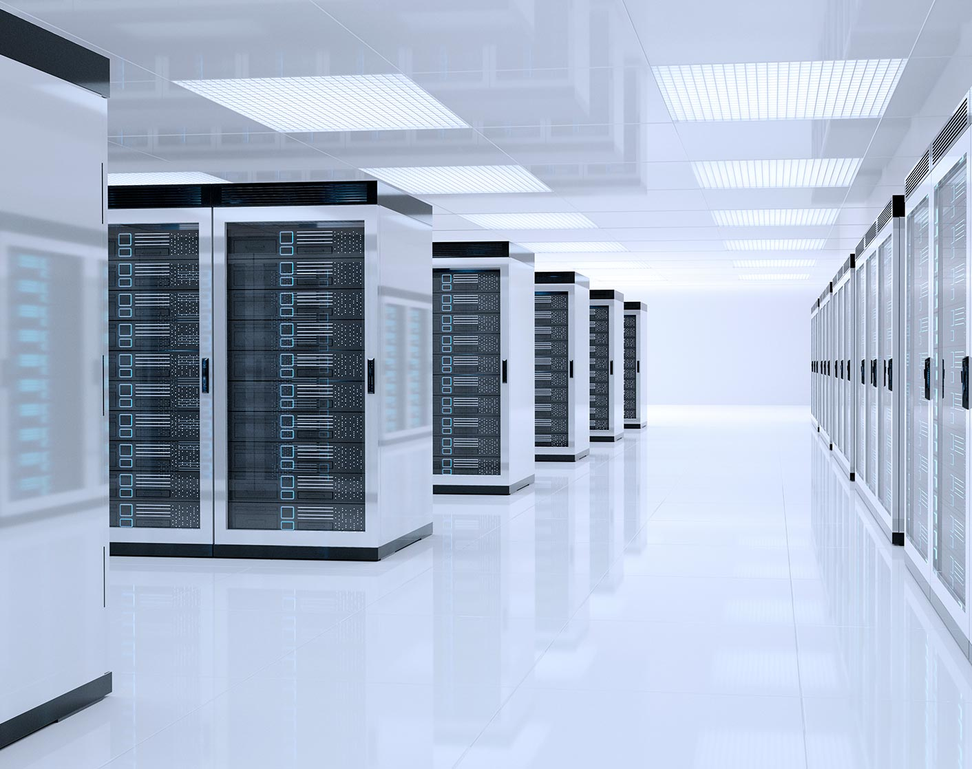 white room full of cloud servers
