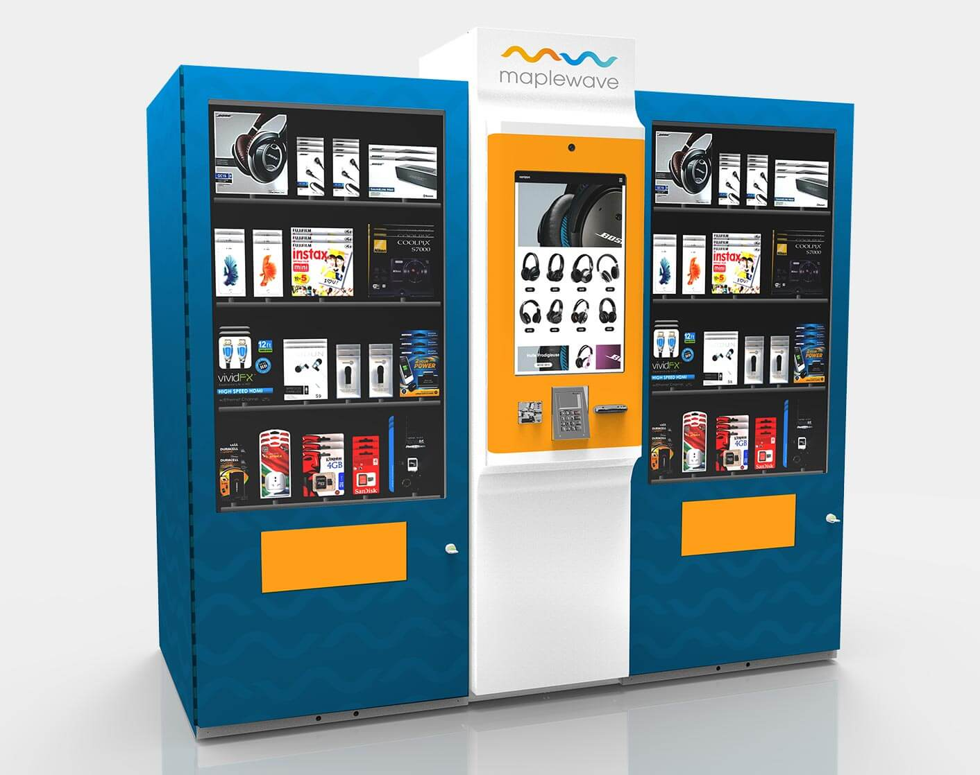 Kiosk station with two vending lockers