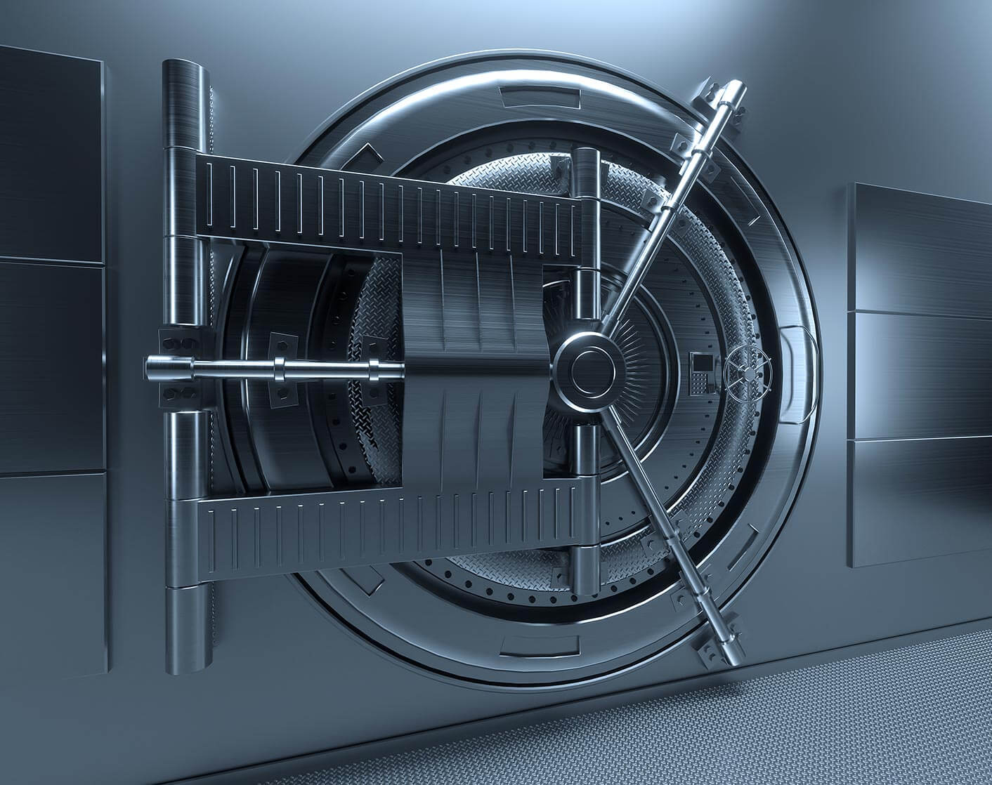 image of a bank vault door