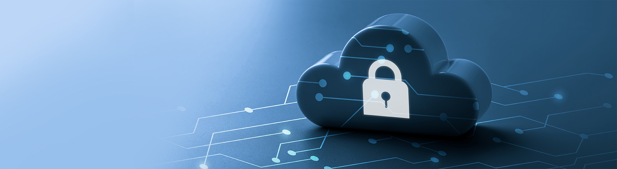 Cloud illustration with a key lock printed on it