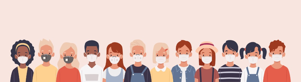 Illustration of people in a line wearing masks