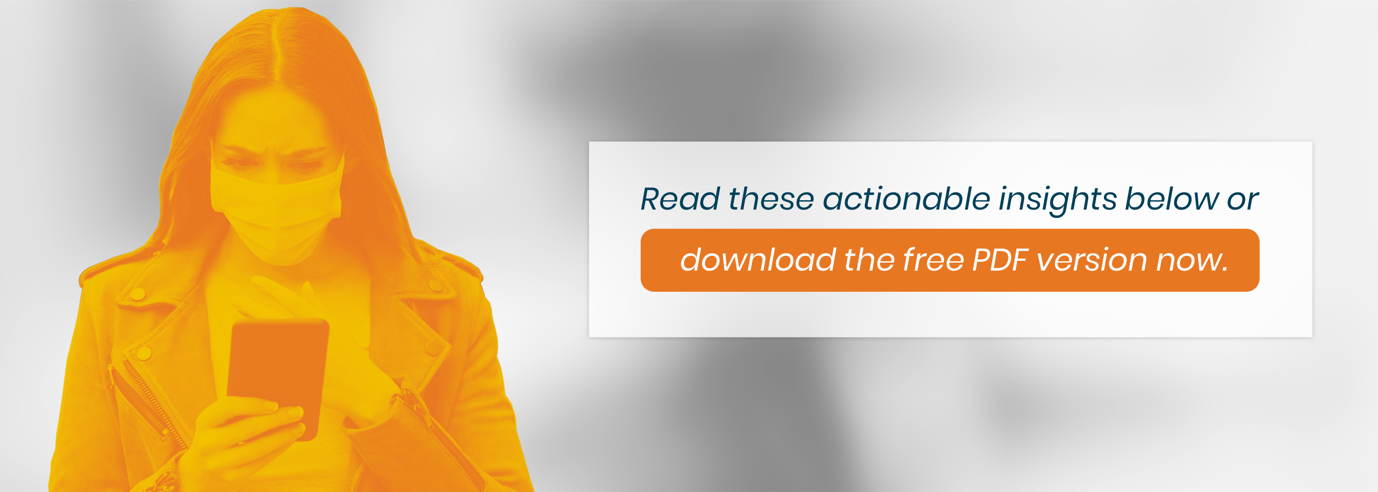 Image of the white paper cover woman in orange duotone wearing a leather jack and a surgical mask looking at her phone