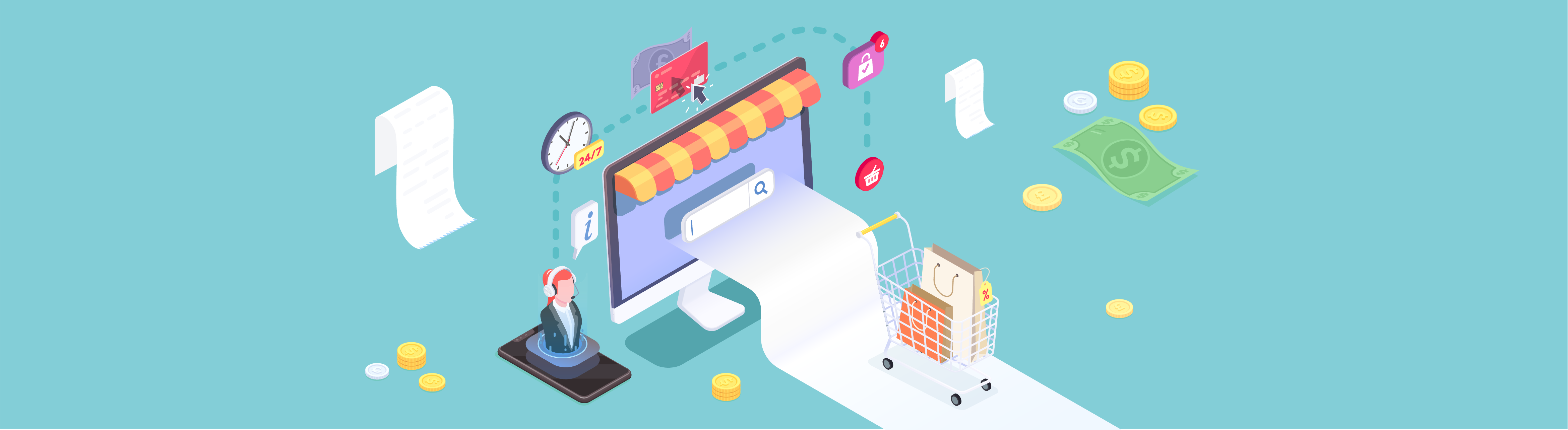 Illustrations of online shopping activities