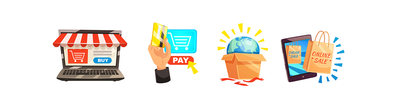 Illustration of images for online shopping