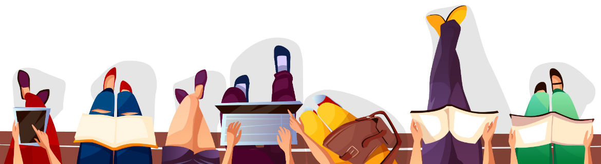 illustration of people sitting on a bench reading papers, looking at phones working on laptops