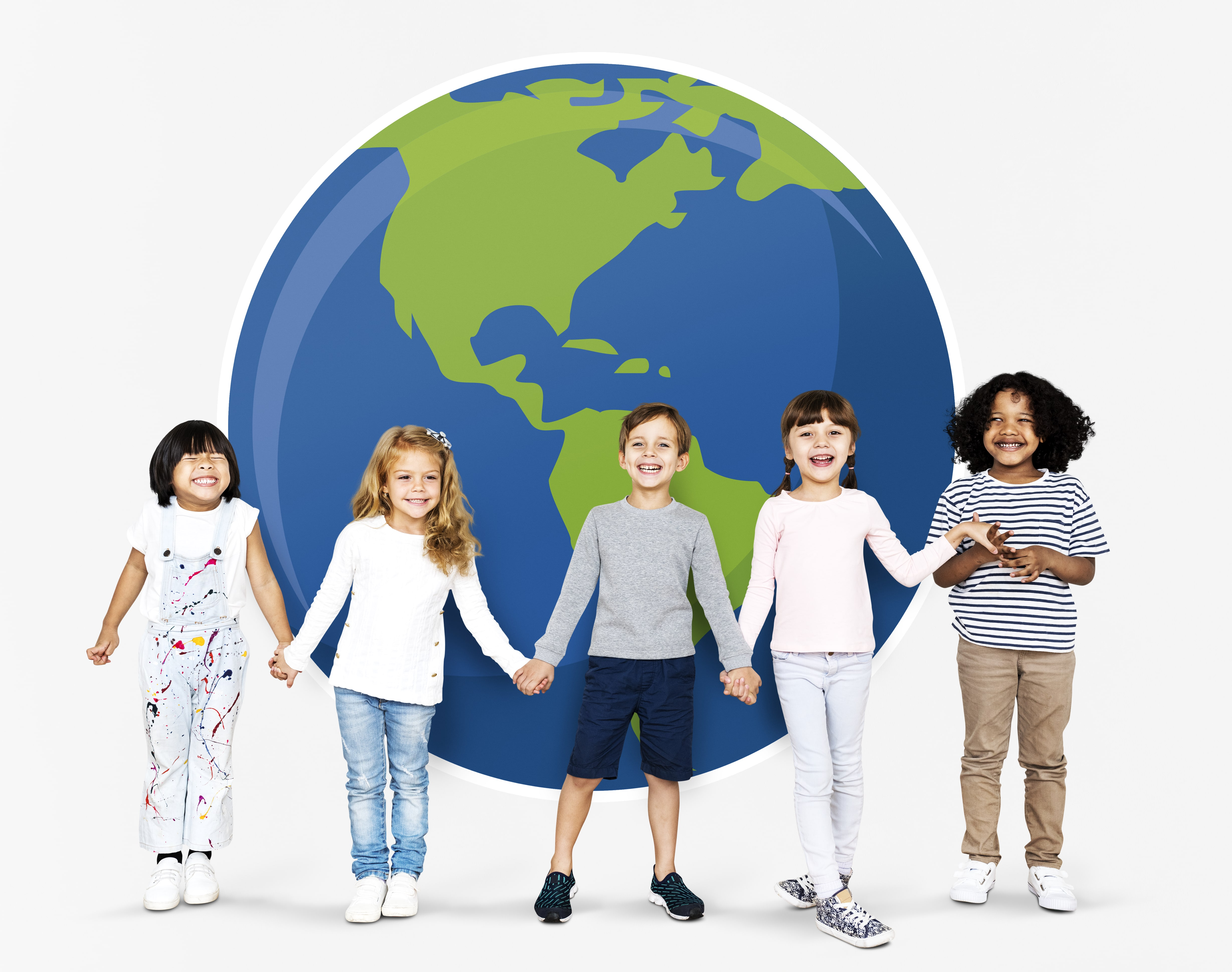5 children in a line holding hands in front of a illustration of the earth