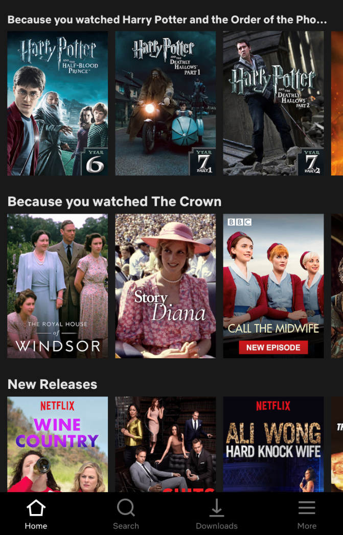 Image from Netflix user interface