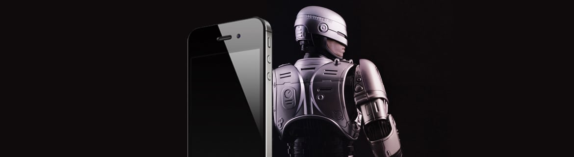 Image of an iPhone and Robo Cop character from the movie Robo Cop