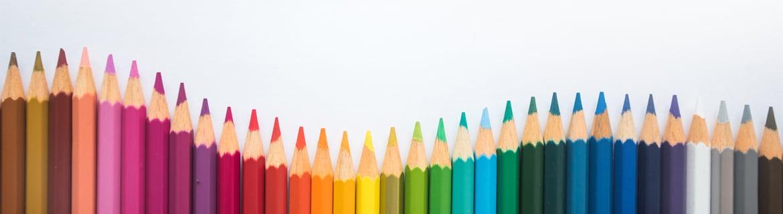row of coloured pencils
