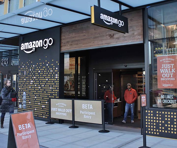 View outside Amazon GO! store.