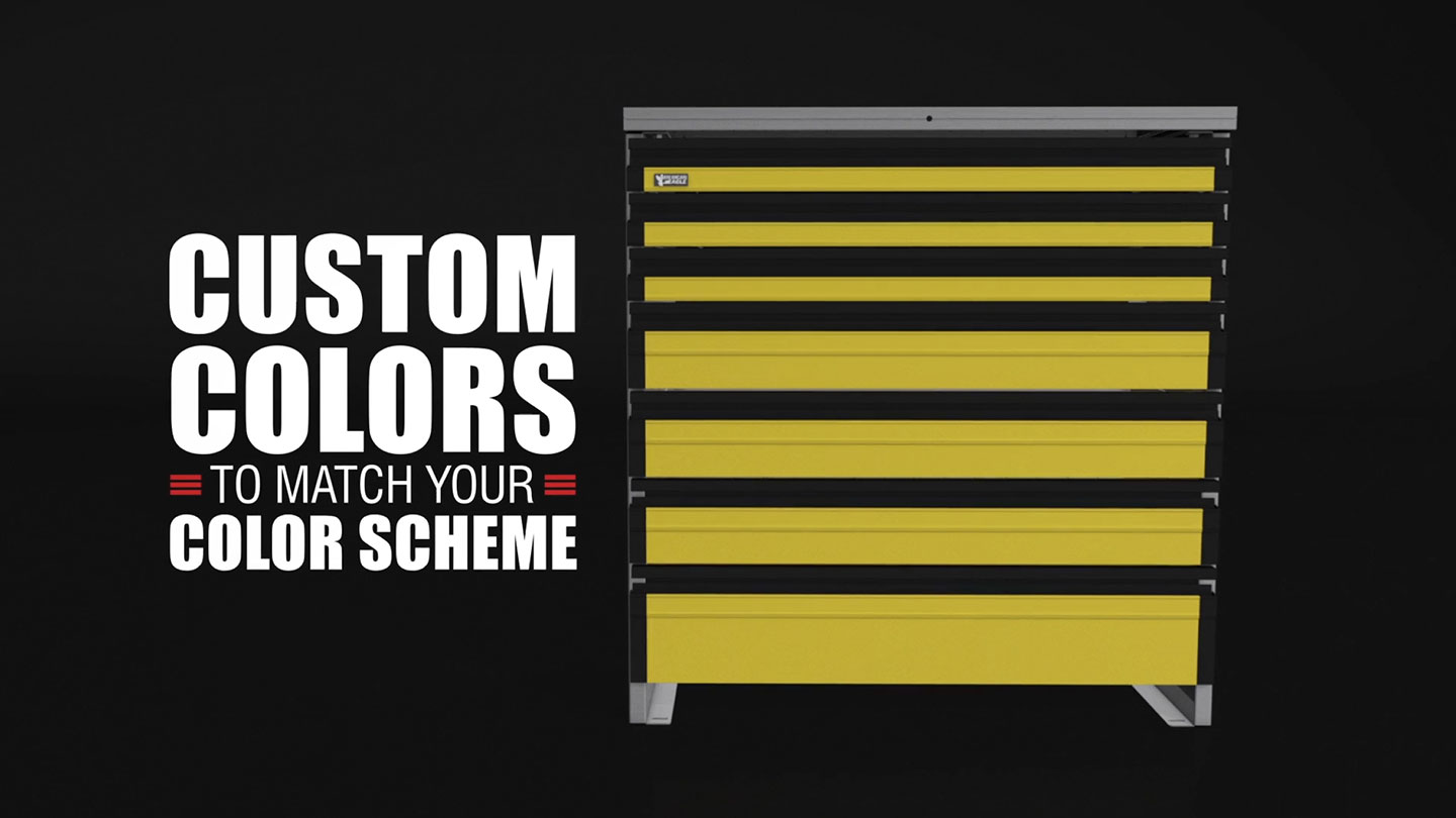 """Tool drawer system next to text that reads """"Custom colors to match your color scheme""""."""