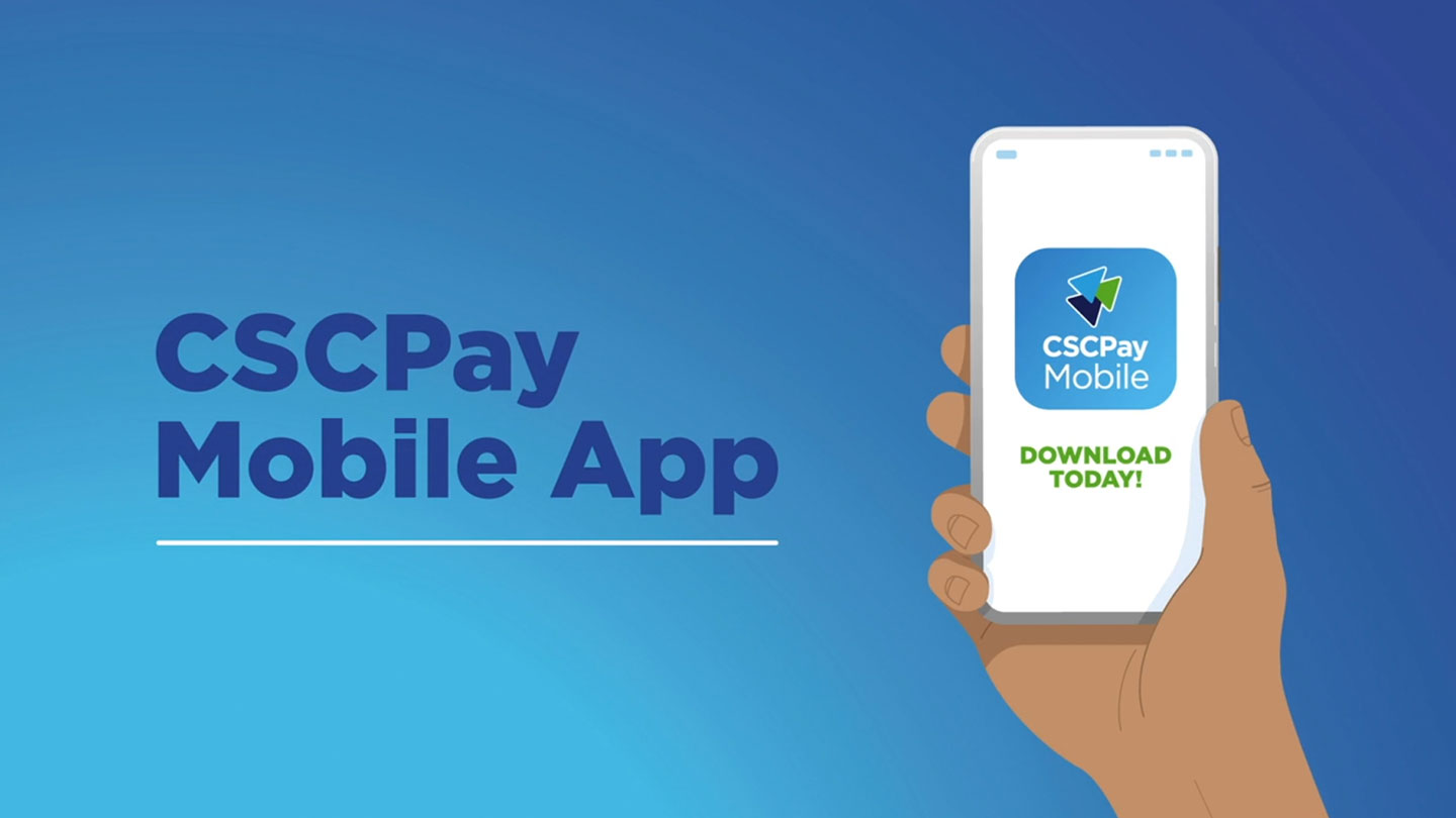 """Animation of a hand holding a smartphone next to text that reads """"CSCPay Mobile App""""."""
