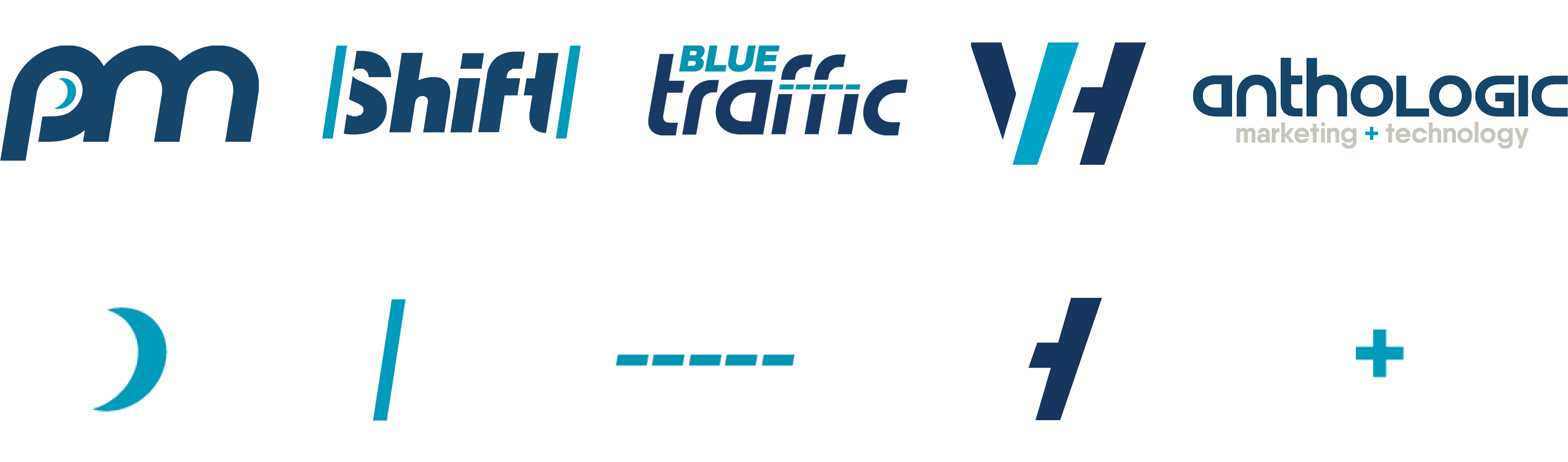 Compilation of the Anthologic logos and logo elements. PM, Shift, Blue Traffic, and Vector Haus.
