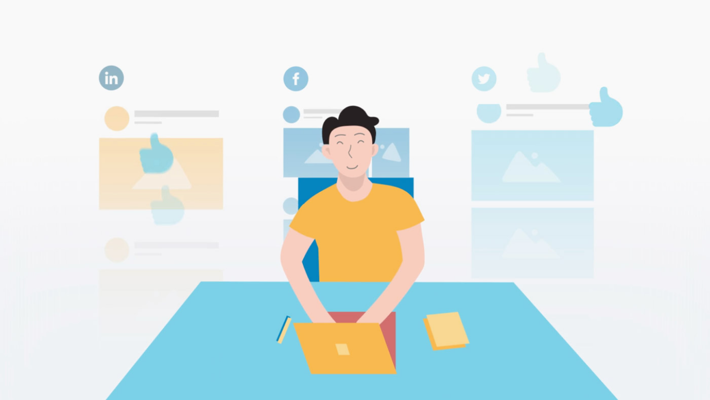 Animated image of man sitting at a desk and using his computer, with social media icons floating in the background.