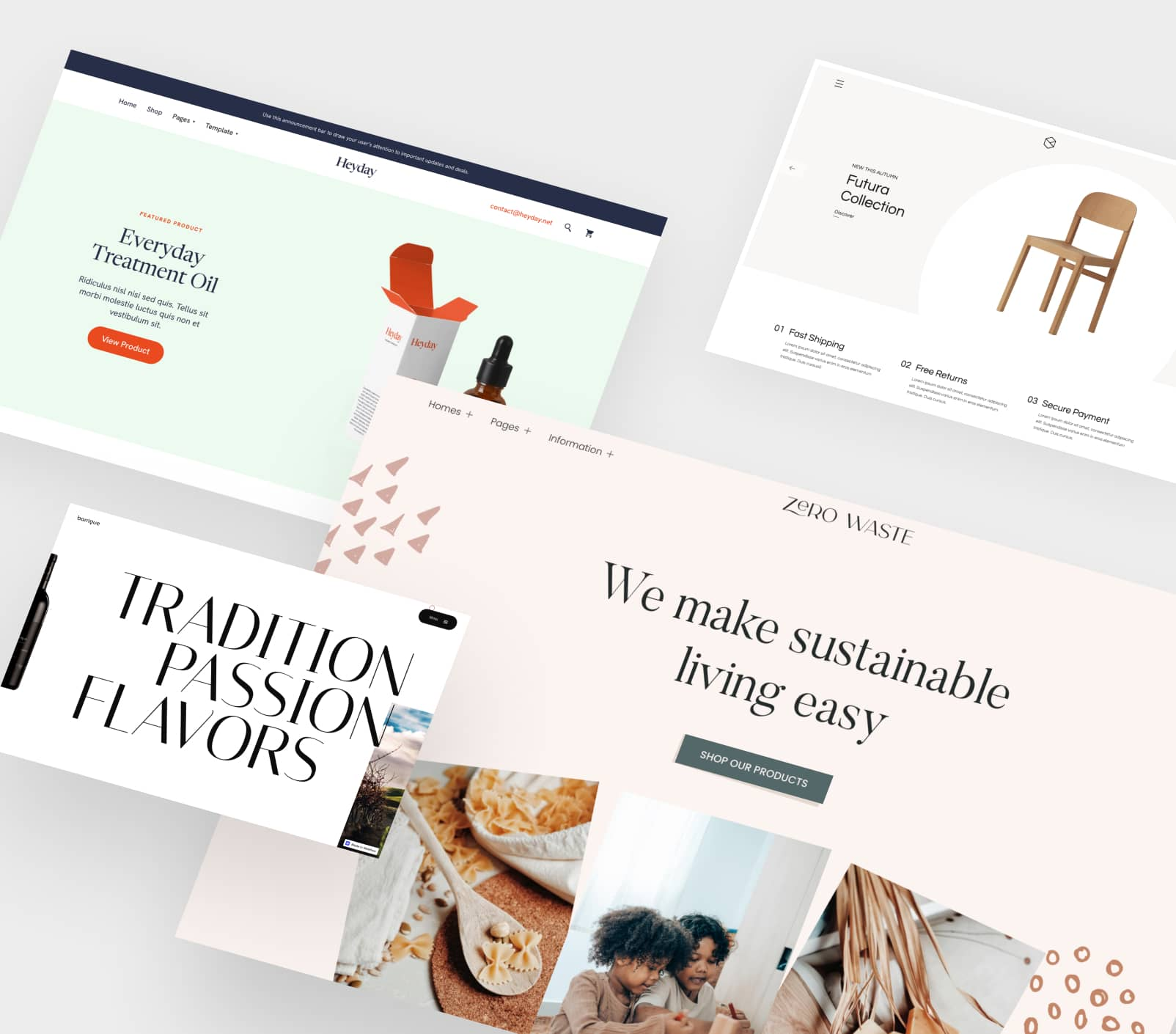 Four ecommerce website screenshots overlapping each other and displayed at an angle