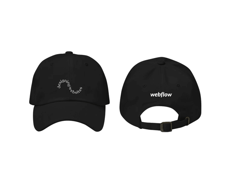 "A black low profile, adjustable hat with a curved visor and curved texted on the front saying ""designing websites"" plus a small Webflow logo on the back."