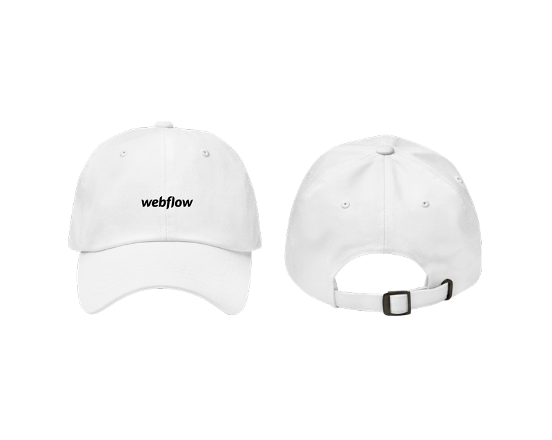 A white low profile, adjustable hat with a curved visor and a small Webflow logo centered on the front.